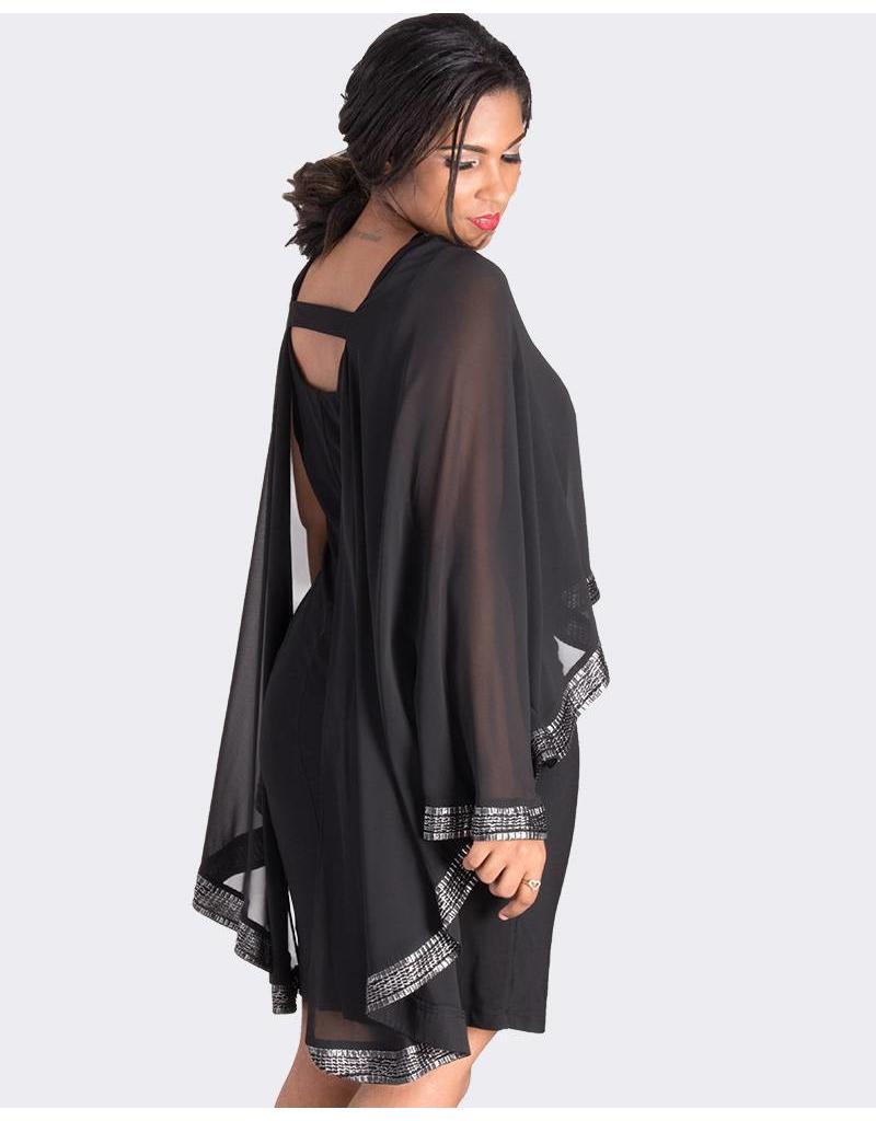 FORTUNATA- Cape Shift Dress