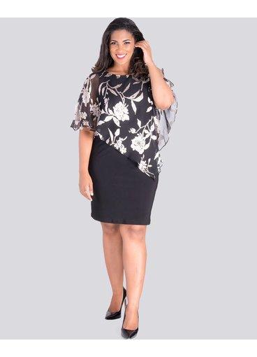 Scarlett IONA - Printed Cape Dress