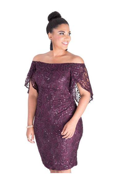 LATISHA- Sequin Off the Shoulder Dress