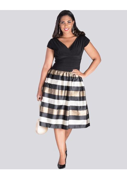 SABINE- Two Tone Fit and Flare Dress