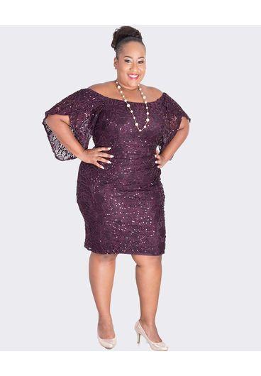 LATISHA- Plus Size Sequin Off the Shoulder Dress
