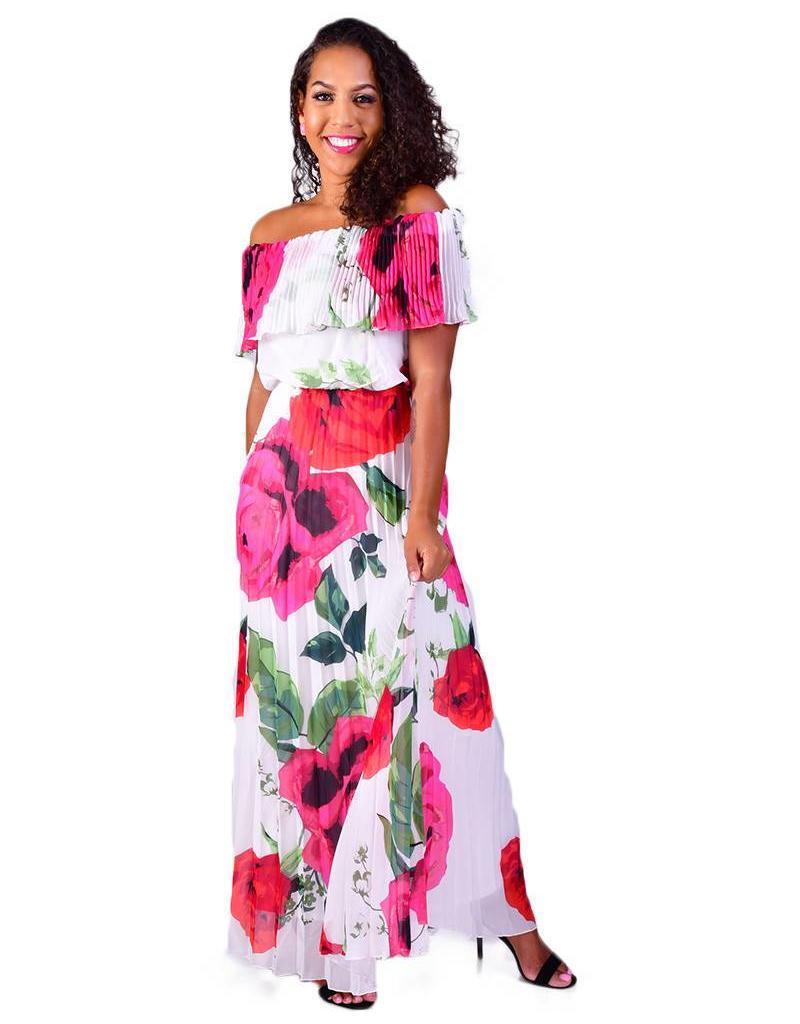 FANTASIA-Printed Off the Shoulder Dress