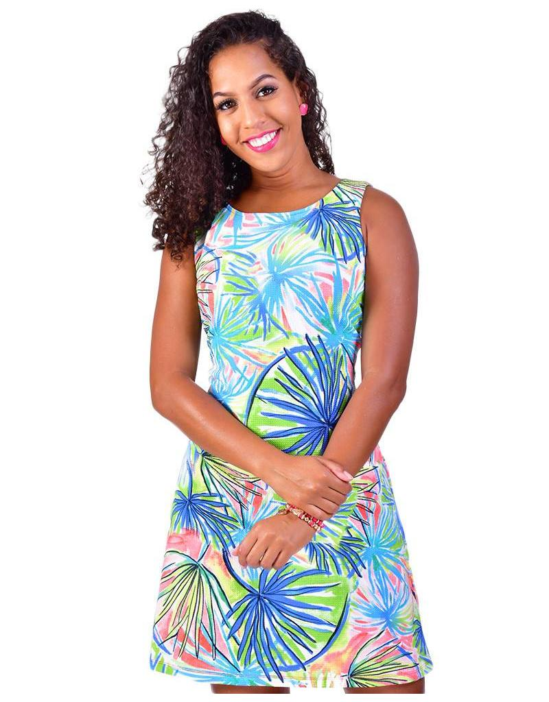 Blossom Palm Print Sleeveless Dress