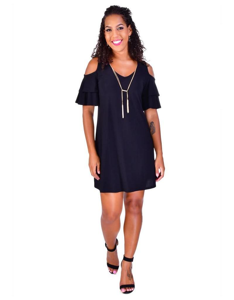 IVANKA-Shift Dress with Cold Shoulder Cut Outs