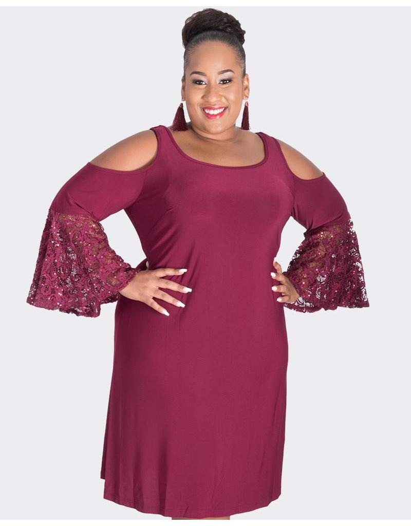ISHANA - Plus Size Cold Shoulder Bell Sleeve Dress