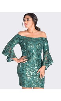 LUCIA- Sequined Off the Shoulder Dress