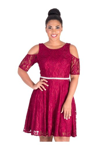 Celavie LAYLANN-Cold Shoulder Dress with Bejewelled Waist