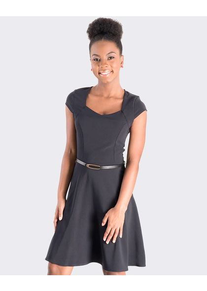 WINIFRED- Petite Cap Sleeve Dress with thin belt