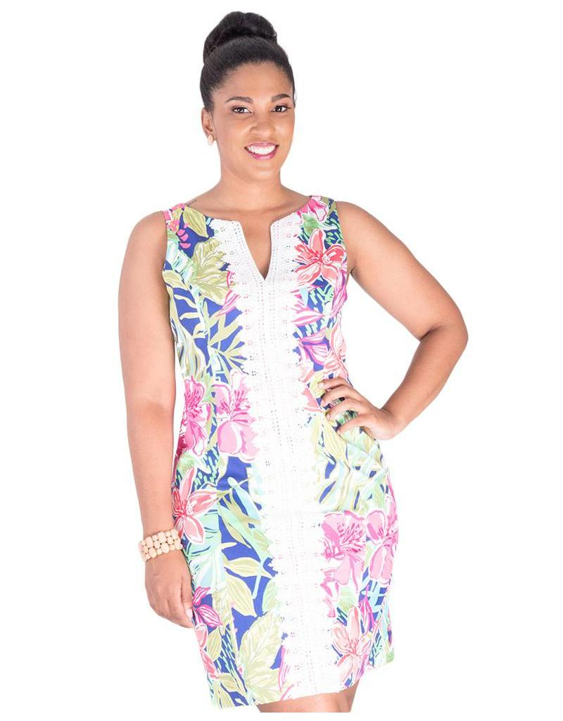 Pappagallo PAT - Printed Dress with Crochet Accent