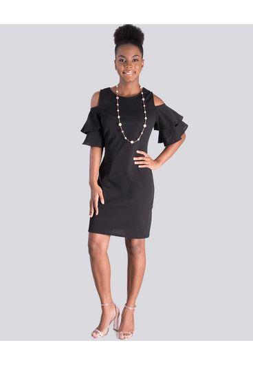 Crece ROBYN- Petite Cold Shoulder Bell Sleeve Dress
