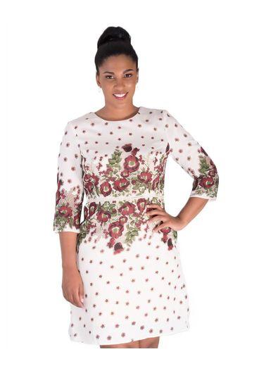 NADINE-Printed Three Quarter Sleeve Dress