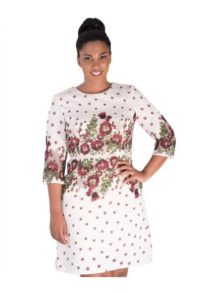 NADINE-Printed Three Quarter Sleeve Dress