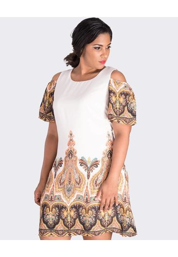 REGINA-Printed Dress with Cold Shoulder Cut Outs