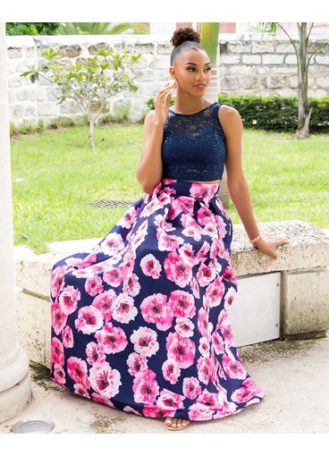 HALONA-Two Piece Lace and Print Gown
