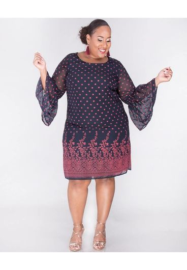 Signature FAIRUZA- Plus Size Placement Print Three Quarter Sleeve Dress