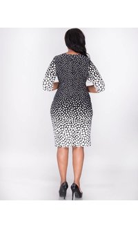 ILONA- Plus Size Printed three quarter sleeve dress