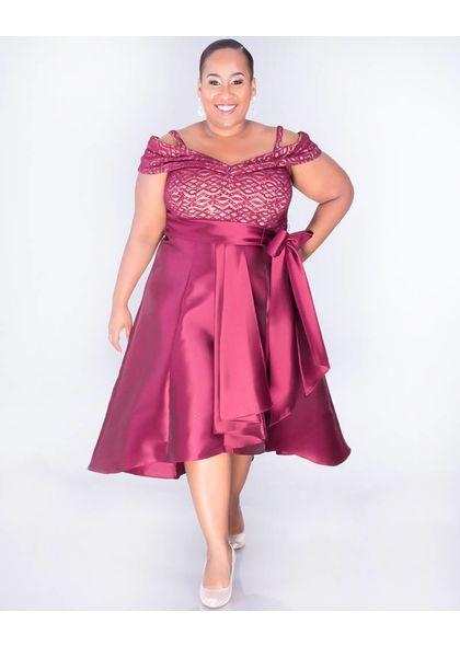 SAPPHIRE- Plus Size Off the shoulder High Low Dress