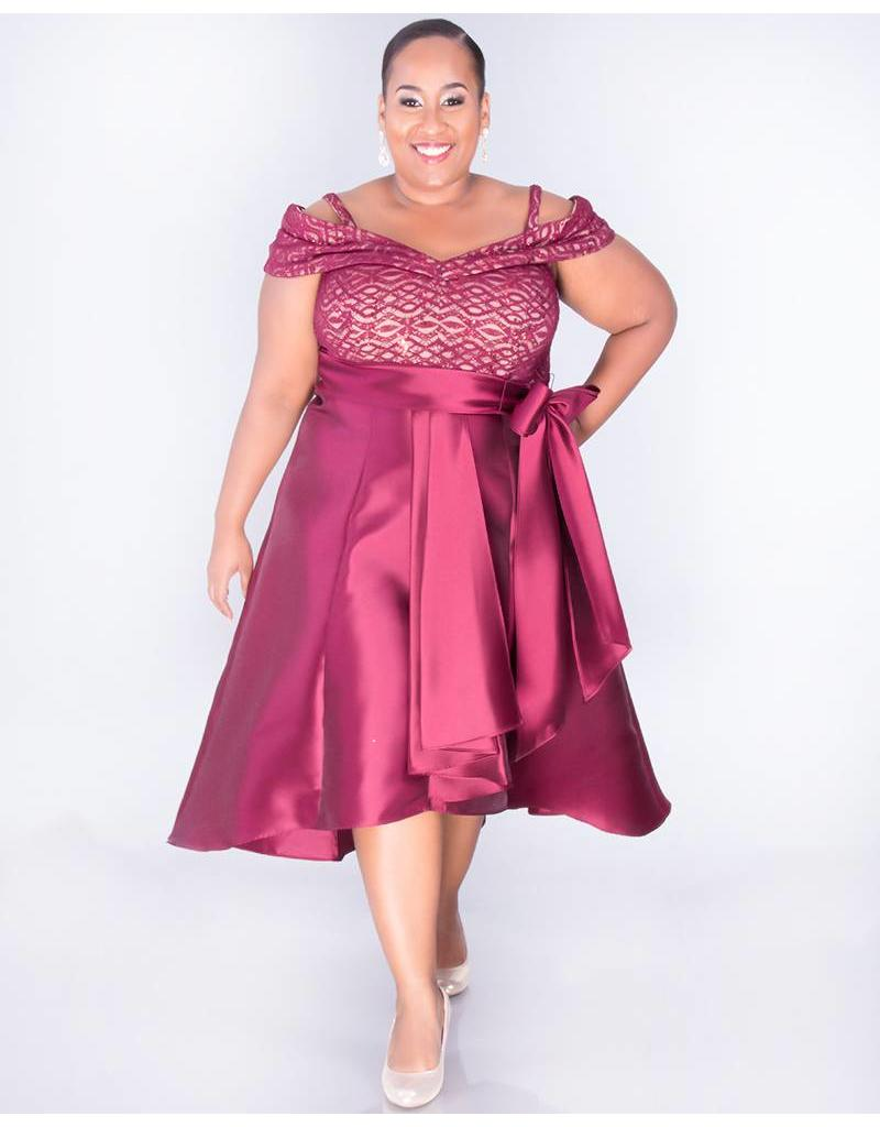 SAPPHIRE- Plus Size Off the shoulder High Low Dress