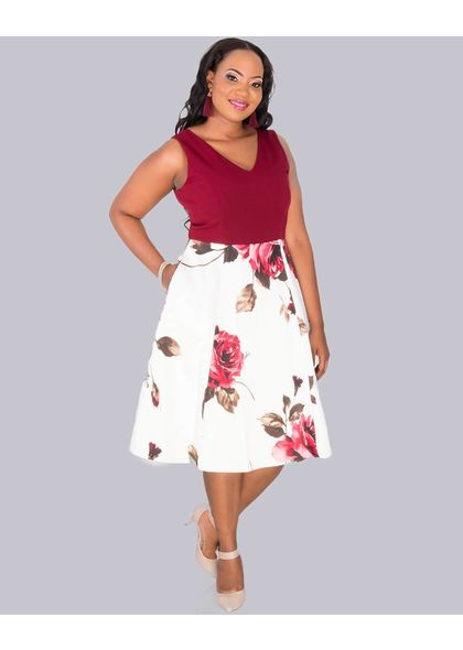 SABAH- Plus Size Two Tone Fit and Flare