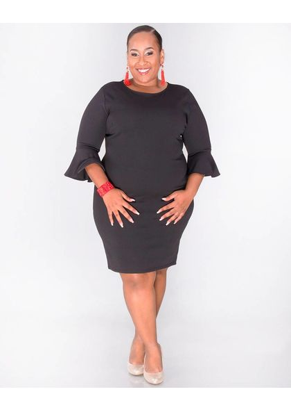 Crece ROBERTA-Plus Size Bell Sleeve Shift Dress