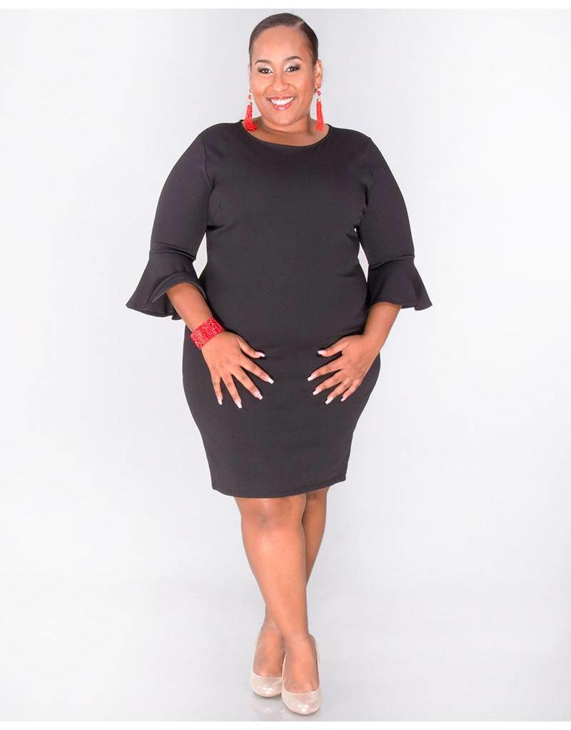 Crece ROBERTA-Plus Size Bell Sleeve Shift Dress