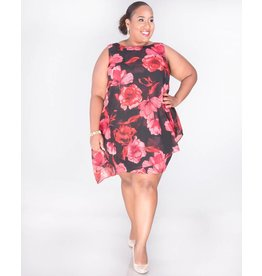 FRANNY- Plus Size Printed Sleeveless Dress