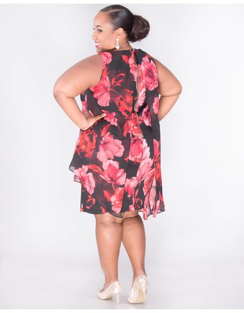 FRANNY- Plus Size Printed Sleeveless Dress