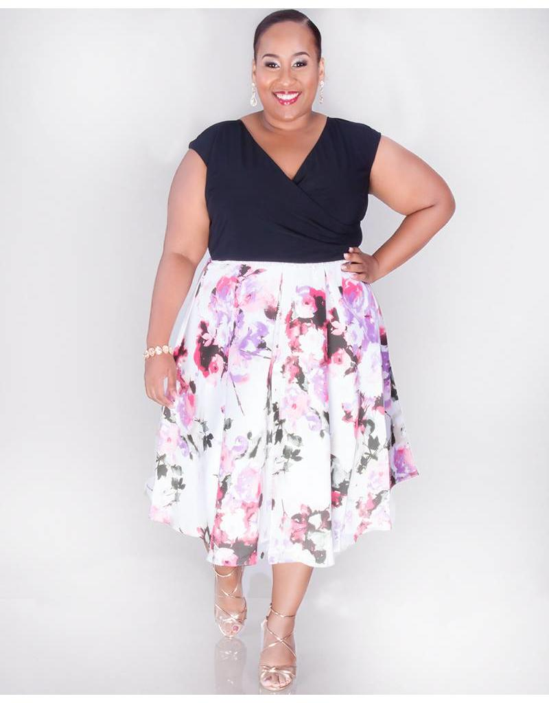 Ignite Evenings SADIE- Plus Size Colour Block Fit and Flare