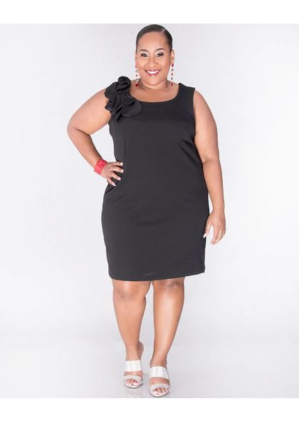 Signature RISHI- Plus Size Sleeveless Dress with Leaf Accent
