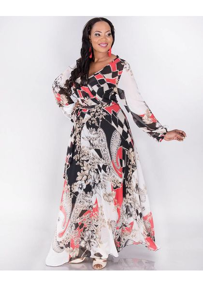 L & C Fargo-Plus Size Printed long sleeve dress