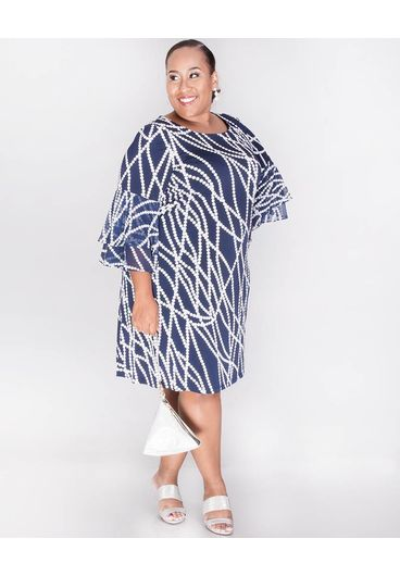 Sandra Darren YAMINA- Plus Size  Printed Dress with 3/4 Bell Sleeves