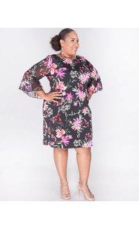 Sandra Darren YARA- Plus Size Printed Dress with Bell Sleeves