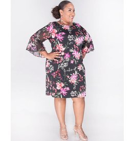 Sandra Darren YARA- Plus Size Printed Dress with Bell Sleeves