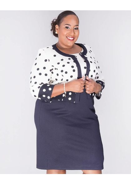 BAY- Plus Size Printed 3/4 Sleeve Jacket with Colour Block Dress