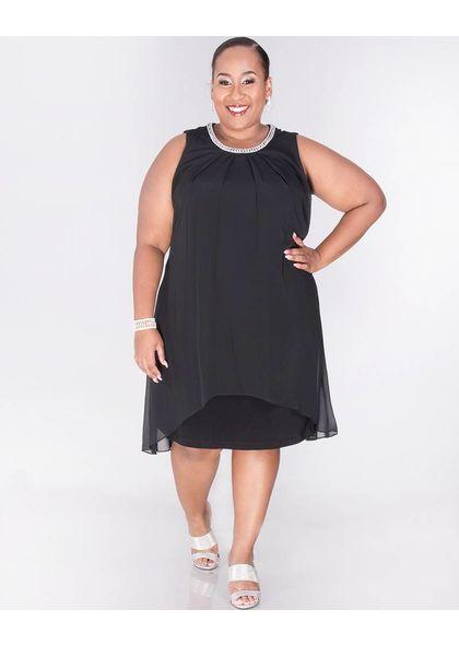FLAVIE - Sleeveless Overlay Dress with Pearl Neckline