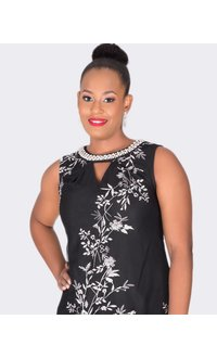 Sandra Darren MERLE- Printed Keyhole Dress with Pearl Necklace