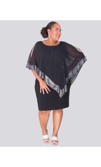 Fortuna- Plus Size Handkerchief Pop Over Shift Dress