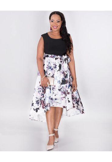 SADE-Plus Size Floral High Low Dress