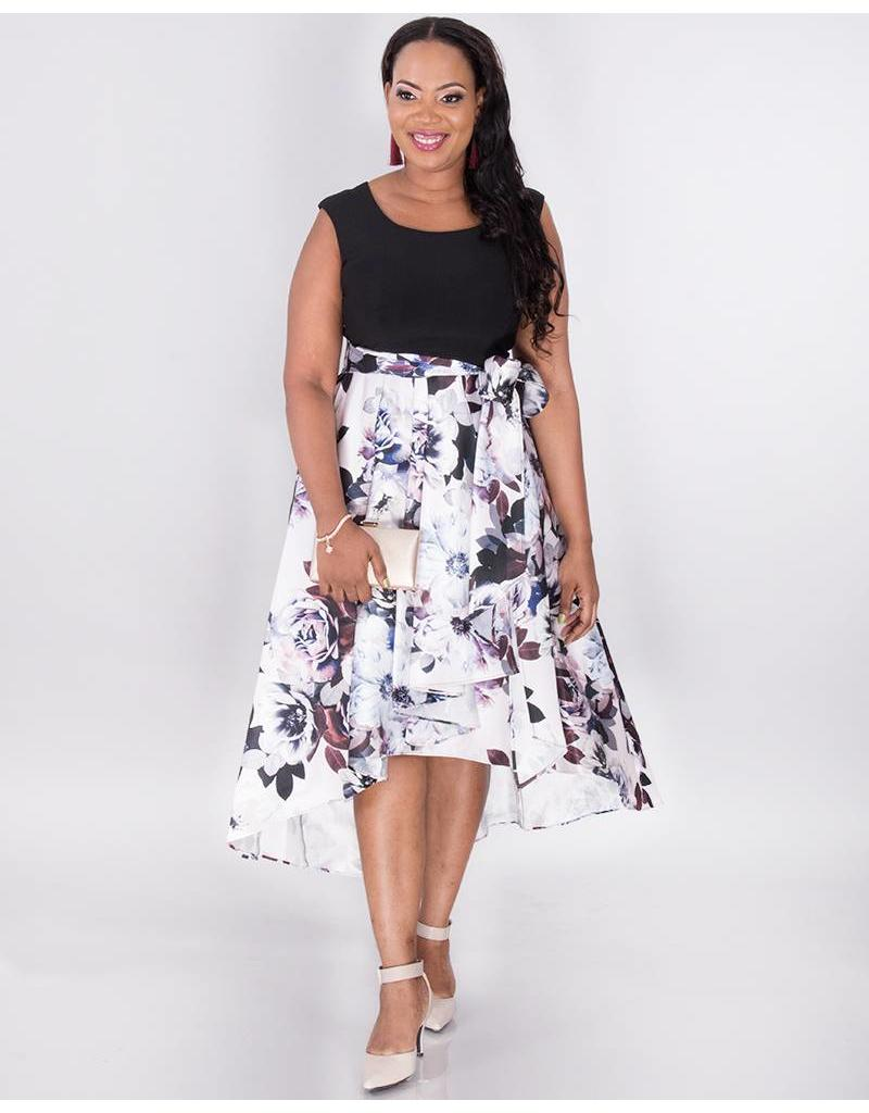 SADE-Plus Size Floral High Low Dress