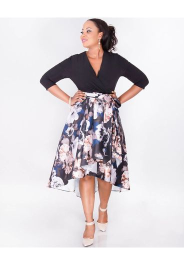 SAFIYA- Plus Size Two Tone High Low Dress