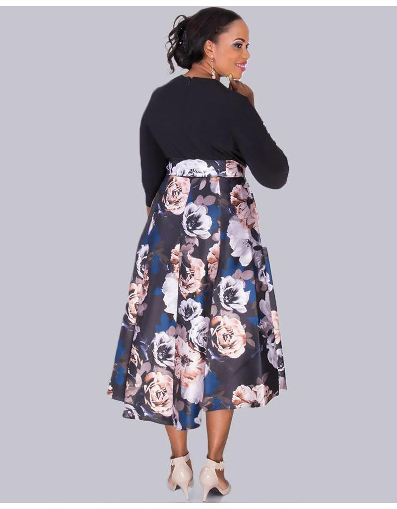 SAFIYA- Plus Size Two Tone High Low Dress