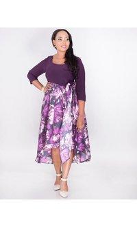 SIENNA- Plus Size Two Tone High Low Dress
