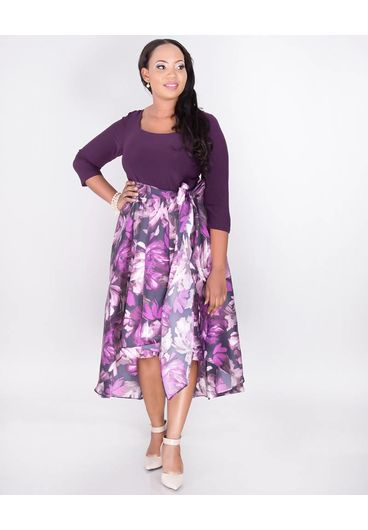 SIENNA- Plus Size Two Tone High Low Dress