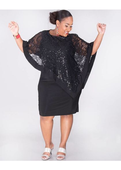 INDIANA - Plus Size Sequined Pop Over Dress