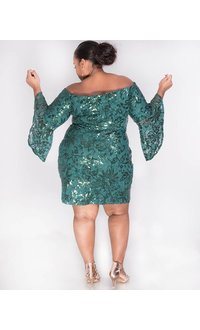 LUCIA - Plus Size Sequined Off the Shoulder Dress