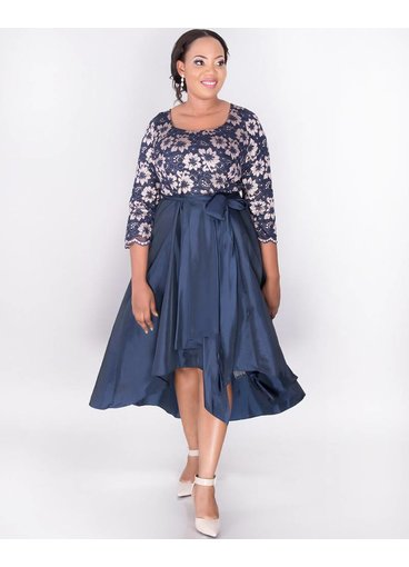 TAMAR - Plus Size Two Tone Fit and Flare  High Low Dress