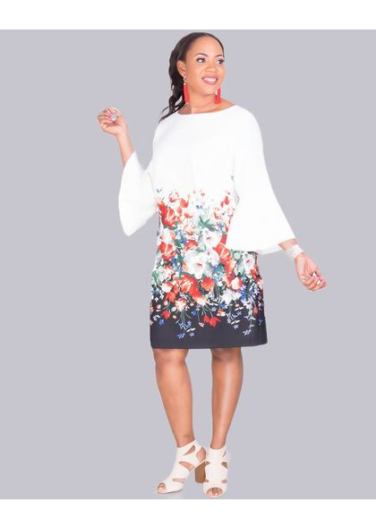 Jessica Howard PAULI- Plus Size 3/4 Sleeve Sheath Dress
