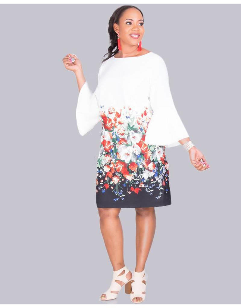3a6a16eaa260 PAULI- Plus Size 3/4 Sleeve Sheath Dress - Harmonygirl.com