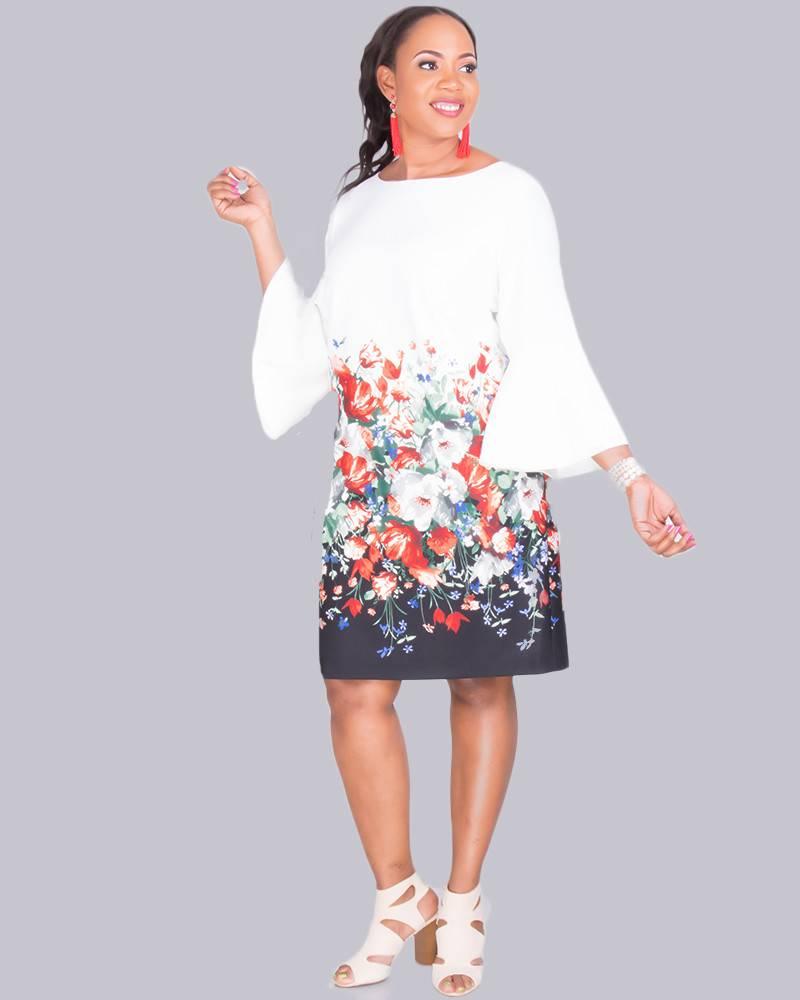 2c9bc204ecd PAULI- Plus Size 3 4 Sleeve Sheath Dress - Harmonygirl.com
