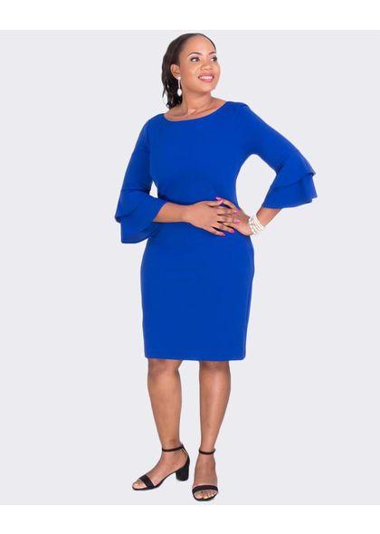 Jessica Howard REBECCA- Plus Size Round Neck 3/4 Sleeve Dress